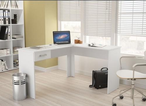 mesa l branca mesinha pequena pc notebook com 1 gaveta fn