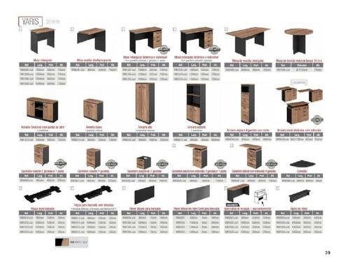 mesa l diretor 150x150x60x45x74cm tampo 30mm com 03 gavetas