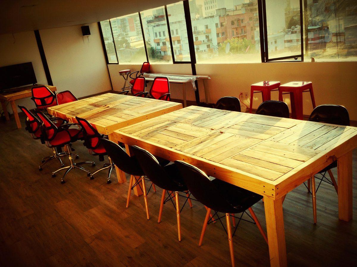 Mesa larga comedor oficina de madera reciclada 4 450 - Mesas madera reciclada ...