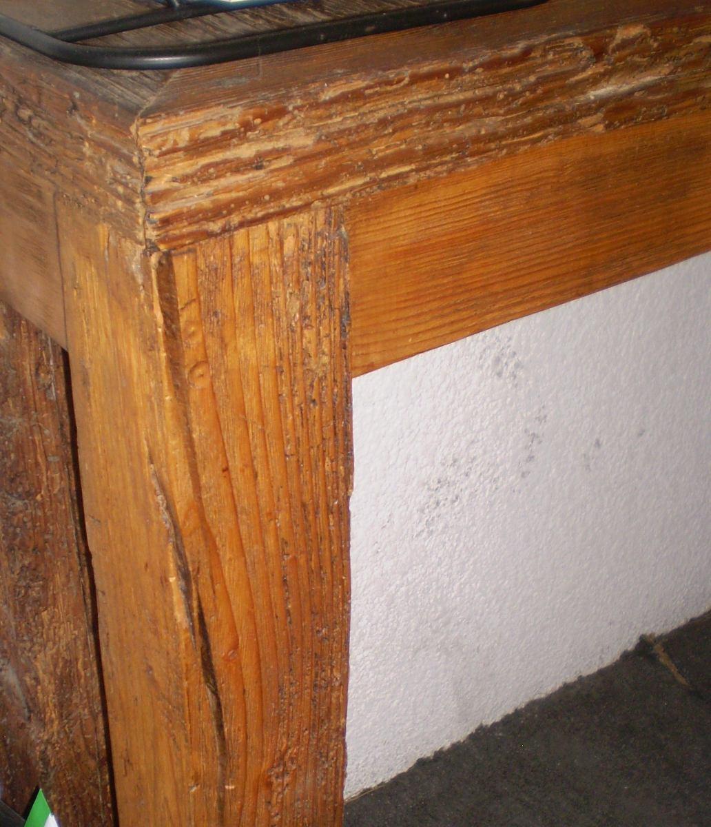 Mesa larga y delgada de madera de viga antigua ofrezca for Mesas antiguas de madera