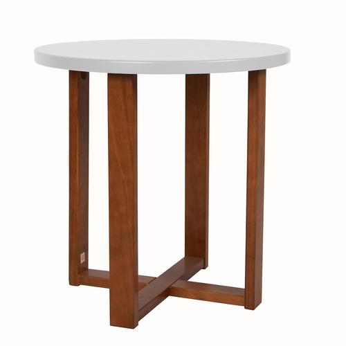 mesa lateral bergamo - branco com madeira