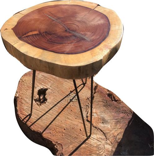 mesa lateral centro  apoio lateral  rústica tronco madeira