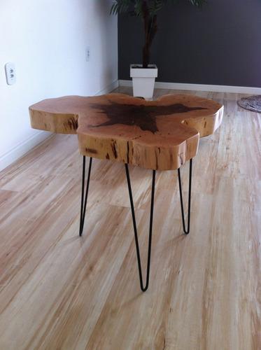 mesa lateral centro apoio rústica tronco madeira 60x60x5cm
