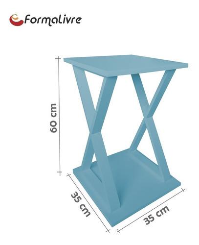 mesa lateral de apoio ou mesa de cabeceira x azul laca