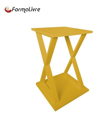 mesa lateral de apoio x ou mesa de cabeceira amarelo laca
