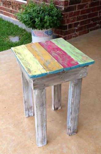 mesa lateral dino 35x59x36 madera reciclada pantano pallet