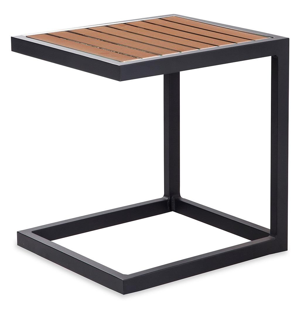 Mesa lateral jardin terraza aluminio polywood promobel for Mesa plastico jardin