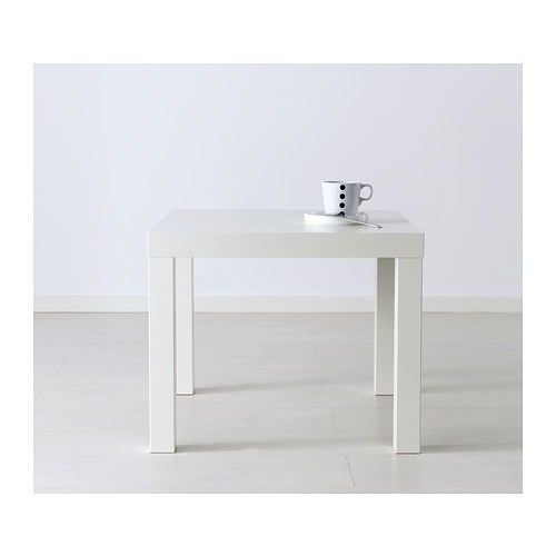Mesa lateral minimalista ikea lack blanca en for Mesa blanca ikea