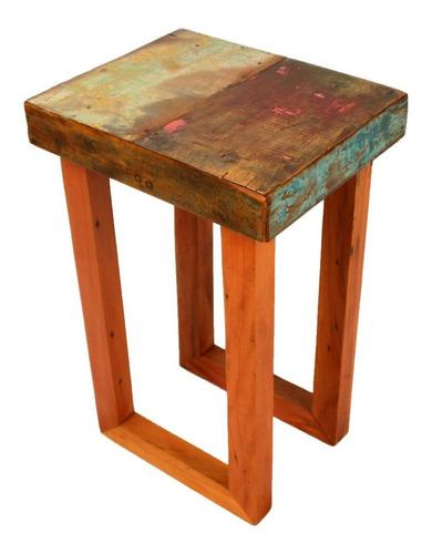 mesa lateral ninho em madeira maciça de demolição