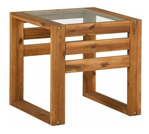 mesa lateral para patio de madera teca walker edison