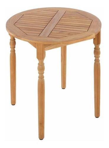 mesa lateral redonda de madera teca old town