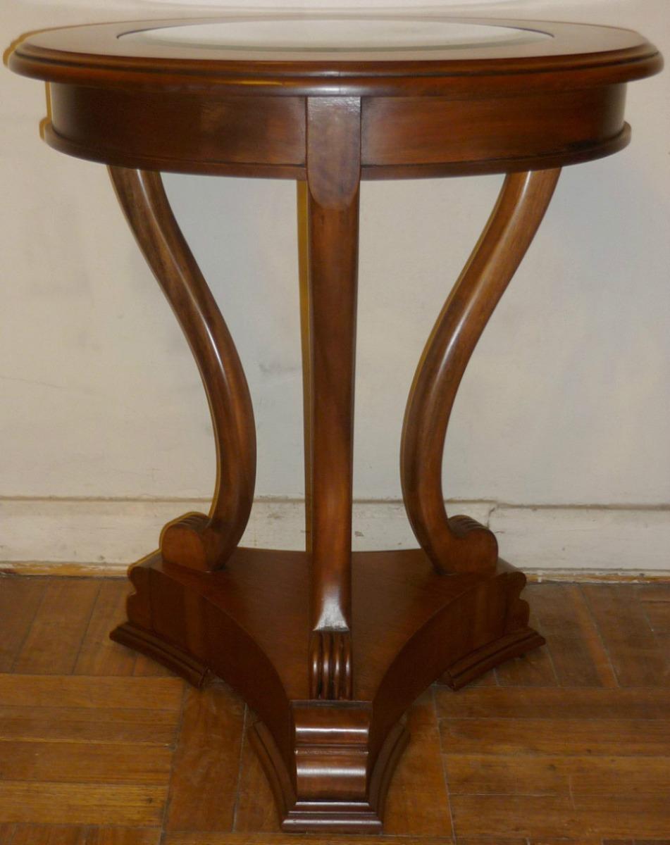 Mesa lateral redonda pata de le n vidrio biselado de - Patas para mesas redondas ...