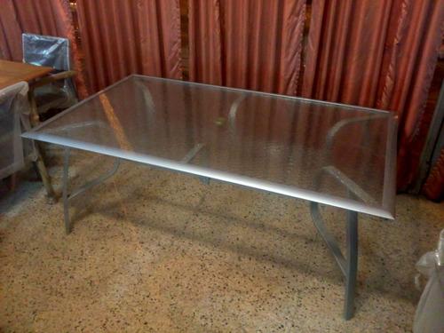 mesa libra - aluminio y vidrio - 1.80 x 1.05m