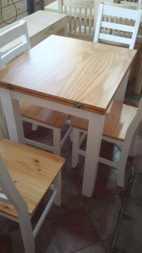 mesa libro 80x80 +4 sillas comedor extensible plegable color
