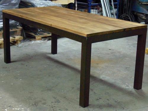 mesa living comedor 4 patas gruesas hierro blanca 160