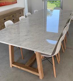 Mesa Living Comedor Moderna Marmol Carrara Petiribi Polar
