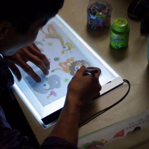 mesa luz a4 desenho led branco usb facil de usar barato