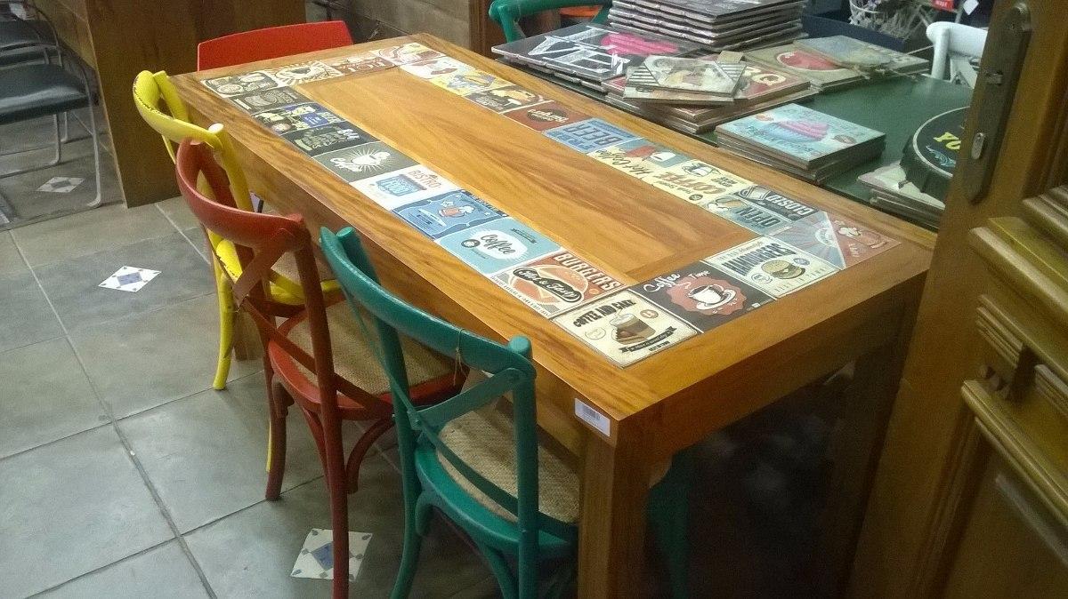 Mesa madeira de demoli o com azulejo retr cozinha bar - Mesas de azulejos ...