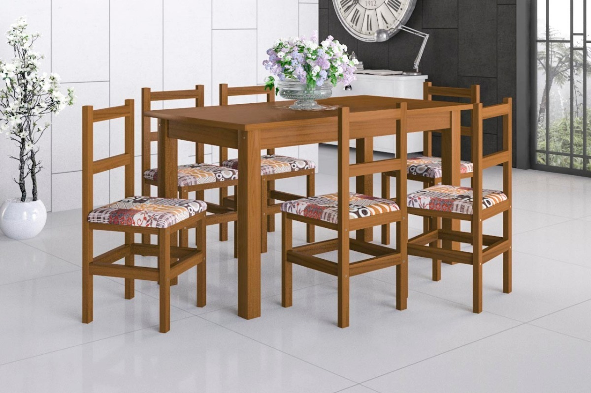 Image of: Mesa Madeira Macica 1 50×0 80 Com 6 Cadeiras Almofadadas R 1 099 00 Em Mercado Livre