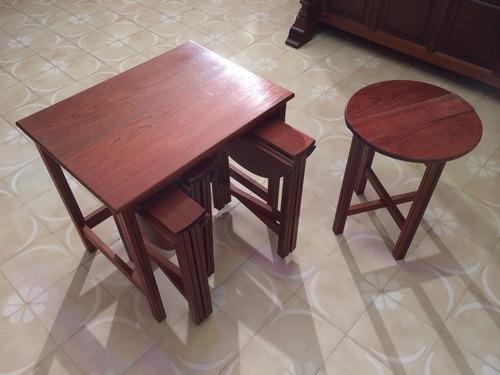 mesa madera convertible a 4 sillas o mesas bar exposición