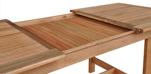 mesa madera extensible 1.50/2.20mts jardín interior exterior