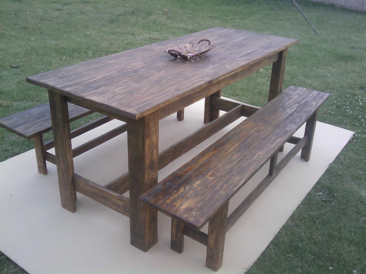 Mesa de madera rustica maciza para interior y exterior for Mesas de exterior baratas