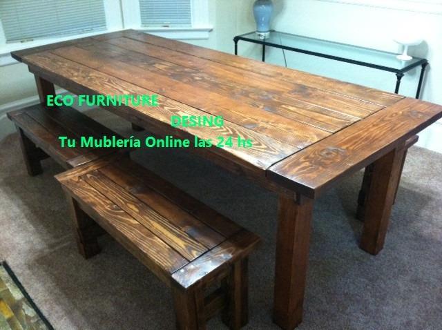 Mesa rustica de madera estilo campo apta interior exterior - Mesa madera exterior ...