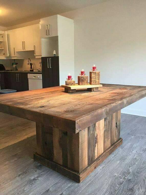 mesa madera maciza para 10 personas con base central 200x100 - Mesa De Madera Maciza