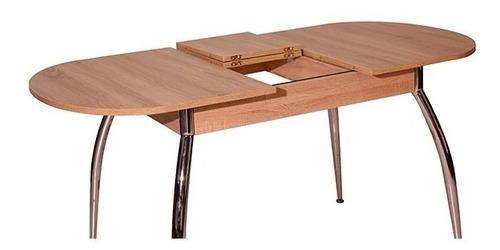 mesa madera ovalada extensible con patas cromadas alta gama