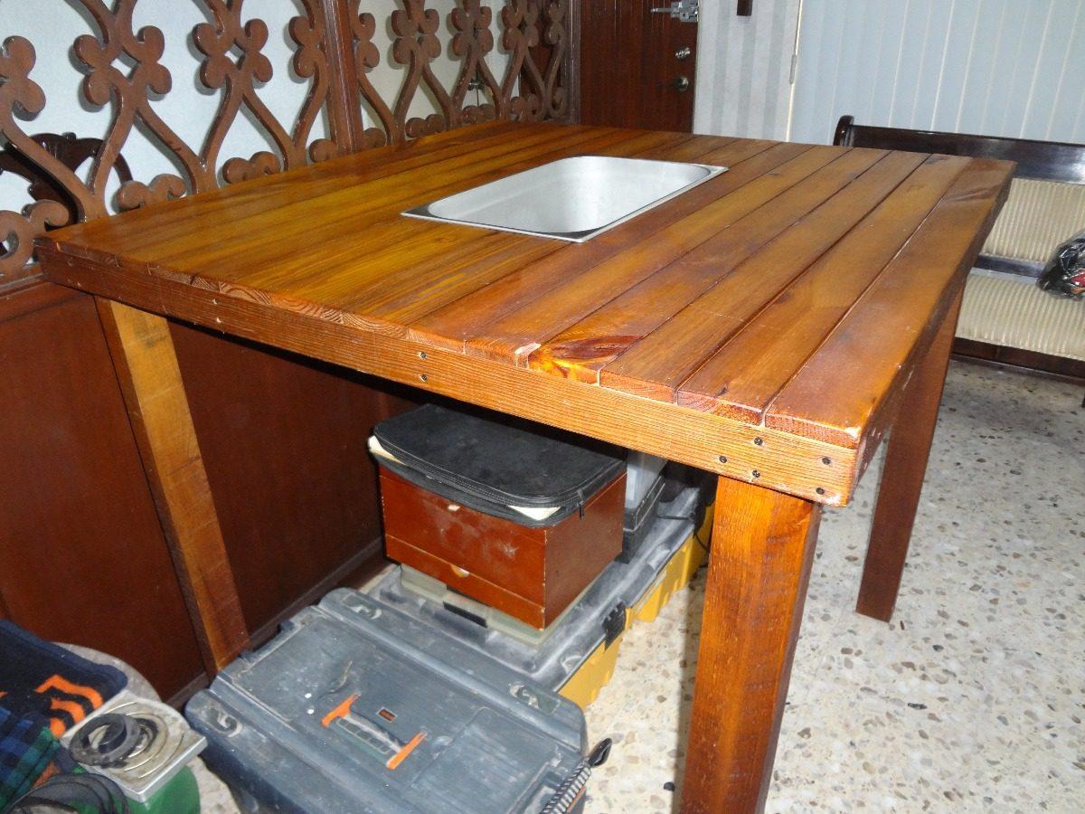 Mesa de madera con hielera para exterior - Mesa madera exterior ...