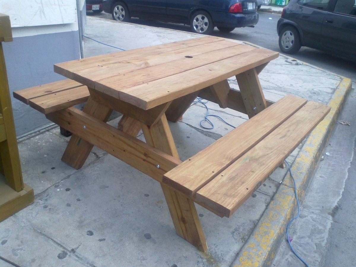 Mesa d madera picnic para exterior mesas y bancas muebles 5 en mercado libre - Mesas de exterior de madera ...