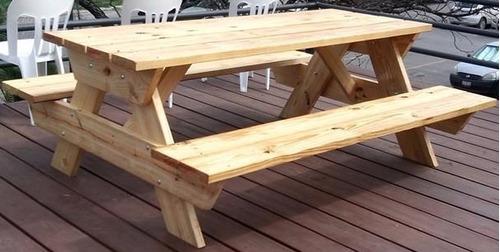 Mesa d madera picnic para exterior mesas y bancas - Mesa de madera exterior ...