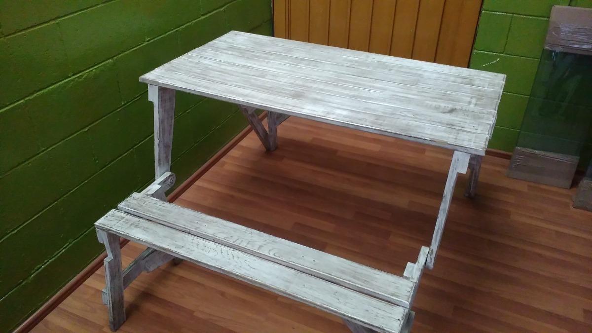 Mesa banca de madera para terraza o jard n 2 en for Mesas plegables para jardin