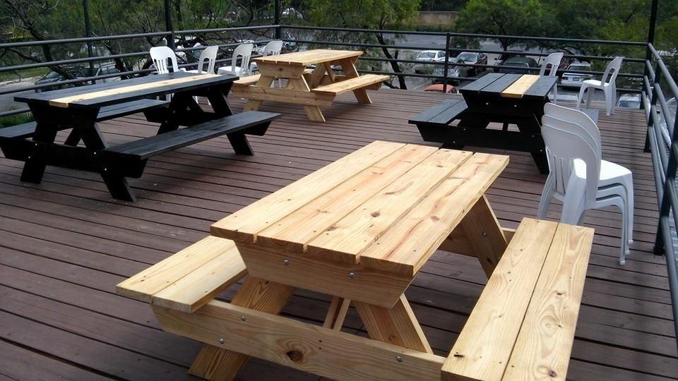 Mesa de madera picnic para extrior mesas y bancas for Mesa de picnic madera