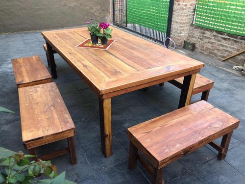 mesa madera pinotea con bancos estilo campo quincho exterio