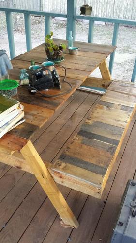 mesa madera rustica pallet interior exterior