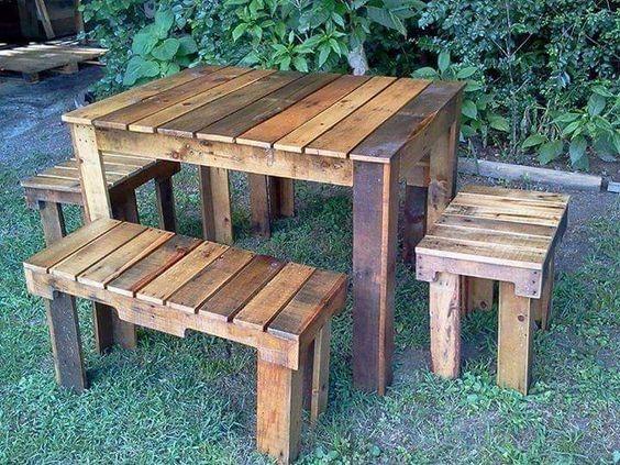 Mesa madera rustica pallet interior exterior - Mesa madera exterior ...