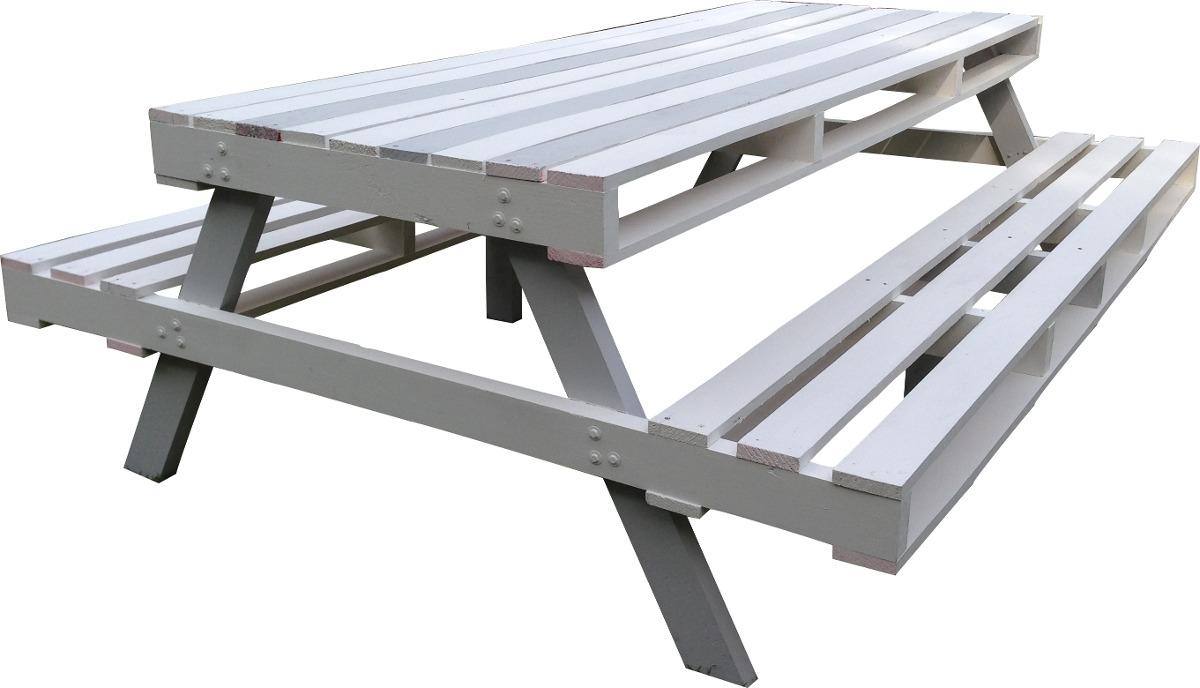 Mesa de picnic hecha de madera de pino tipo pallet for Mesa de picnic madera