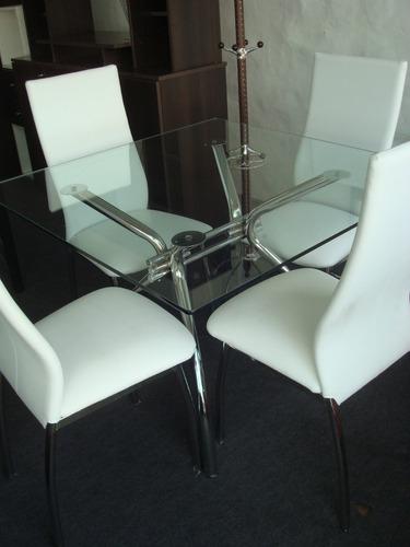 mesa malaga 1.00x1.00 + 4 sillas agus / caño cromado