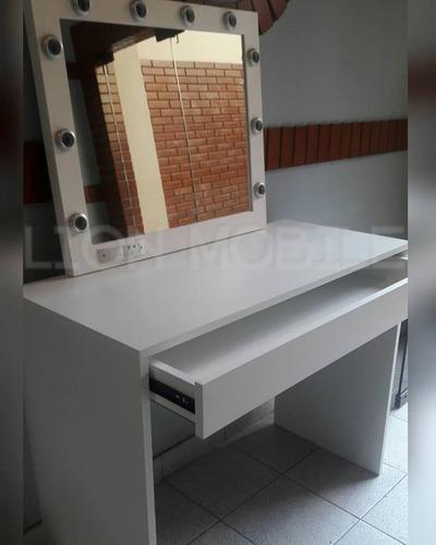 mesa maquillaje eco 1 mt+ espejo hollywood blanco