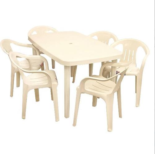 mesa margarita + 6 sillas aruba plástico voss combo blanco