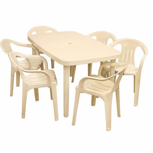mesa margarita + 6 sillas aruba plástico voss2000 1-183+214