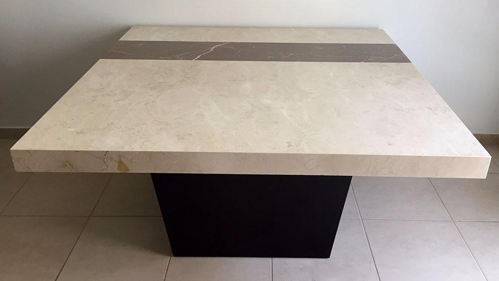 Mesa m rmol cuadrada para 8 personas con base 8 for Marmol para mesa
