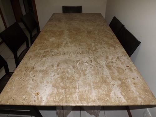 mesa mármore travertino nac. 6/8 lugares boleada pés triplo