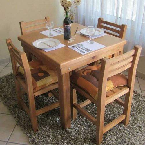 mesa  mas  4  sillas    para  restaurante  bar    barnizada