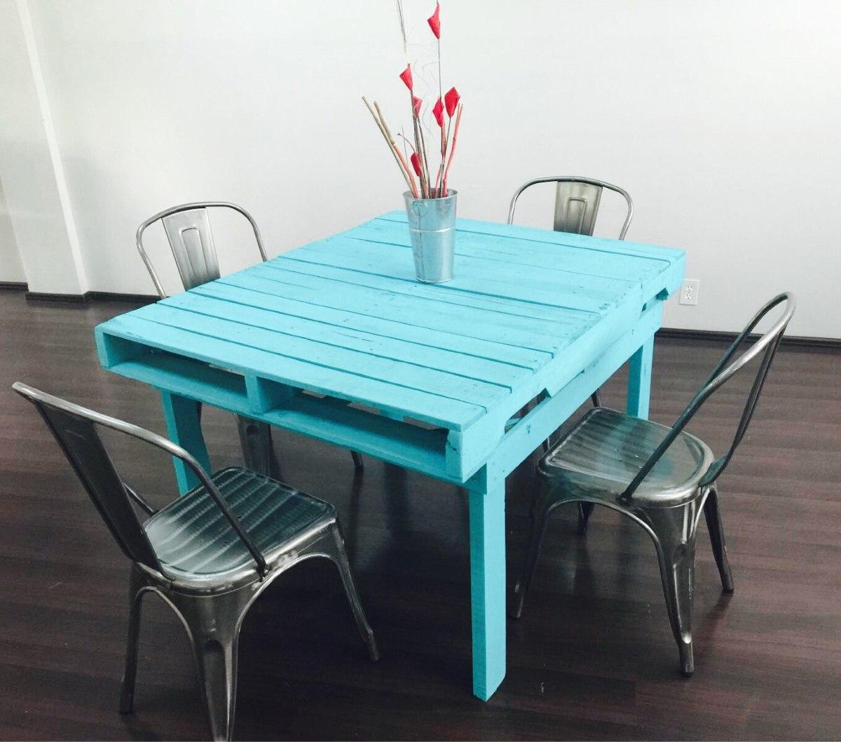Mesa de pallets mesa vintage mesa reciclada mesa for Mesas de plastico para jardin