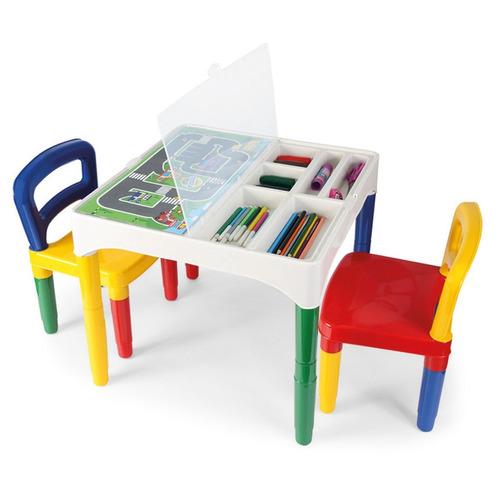 mesa mesinha didática infantil com 02 cadeiras poliplac