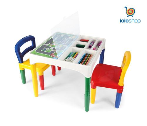 mesa mesinha didática infantil poliplac 2 cadeiras+adesivos