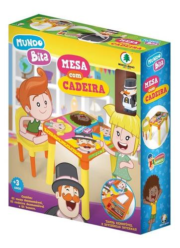 mesa mesinha infantil com cadeira e boneco mundo bita
