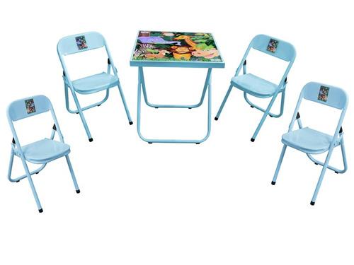 mesa mesinha infantil criança aco com 4 cadeiras promoção